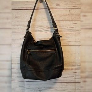 The Sak Black Leather Pebbled Handbag